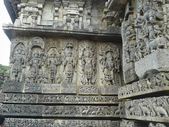 Ornate carvings on the wall picture of halebidu temple