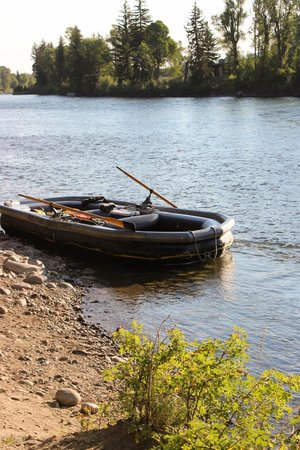 Solitude Float Trips: the raft tied up along the Snake River at the end of the float trip