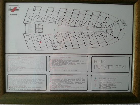 Hotel Puente Real: Layout of Floor in Main Building (Bottom row gets sun most of the day)