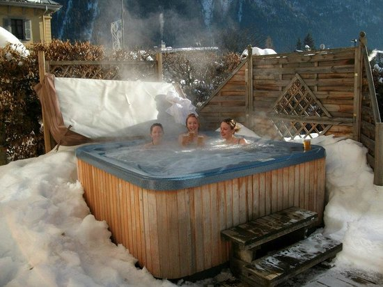 Chalet Cachat hot tub with breath taking views of the mountains and surrounding area!