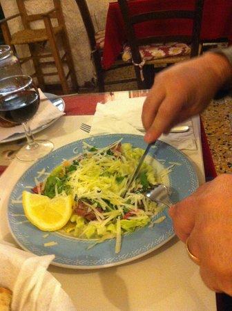 La Cantina di Via Sapienza: tagliata con grana e rucola