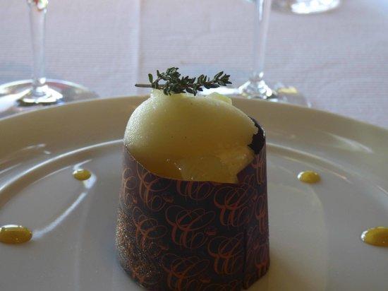 Restaurant Christopher Coutanceau : crême brulée au citron et sorbet au thym