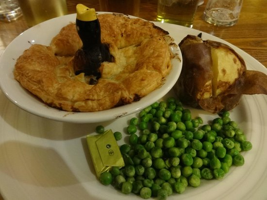 The Racecourse: My Chicken & Ham Pie with jacket potato and peas