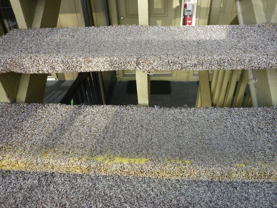 """Jensen's """"On the Gulf"""": Example of tired and worn carpet, etc"""