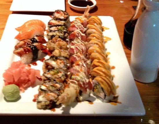 Drunken Fish - Westport Plaza: Salmon and eel nigiri, fried philly roll, drunken fish roll, white tiger roll. Delicious.