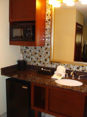 Shular Inn Hotel: sink, microwave and fridge
