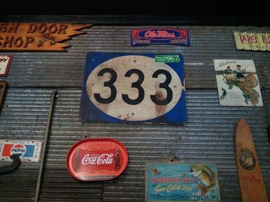 333 Restaurant: Flotsam and jetsam adorns the walls.