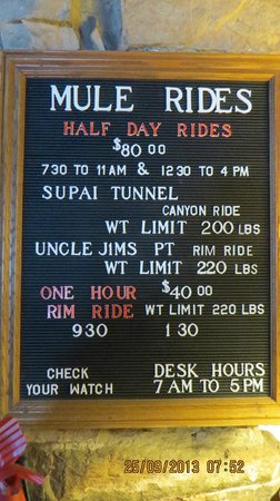 North Rim Campground: Current prices for a Mule rides,
