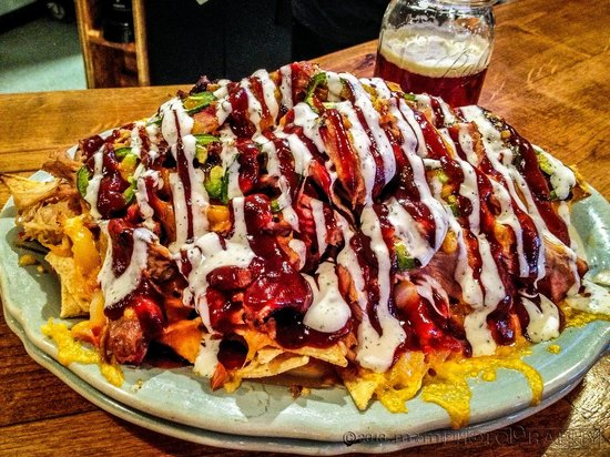 Slow Groovin' BBQ : pulled pock macho nachos. Off the Hook delicious!. Go BUCKS!