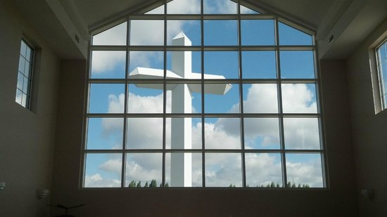 Cross at the Crossroads : View of Cross Through Visitor's Center Chapel