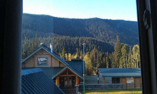 Manning Park Resort: view of pool building from our room