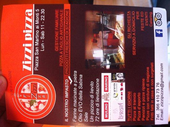 Zizzi Pizza : Their flyer