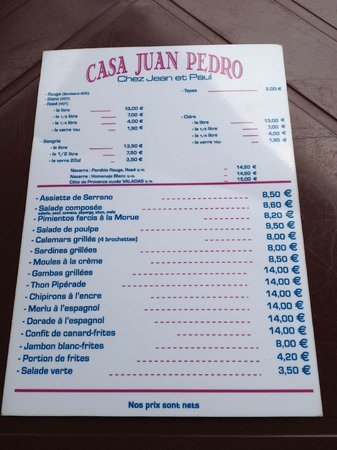 La Casa de Juan Pedro: The menu - incredible value.
