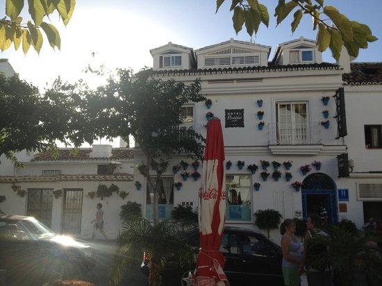 Hotel Pueblo - Boutique Hotel: Blick vom gegenüberliegenden Café