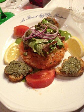 Au Renard Prechant : tartare de saumon excellent