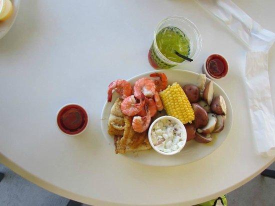 Shrimp Basket: Shrimp and whitefish steamed platter