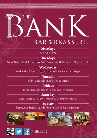 The Bank Bar and Brasserie: Daily Deals