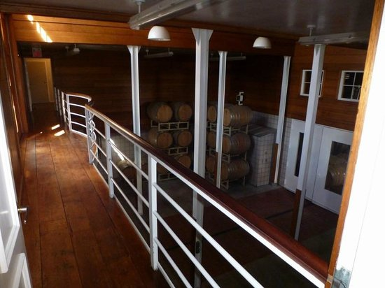 Jonathan Edwards Winery: The barrels in a side room.
