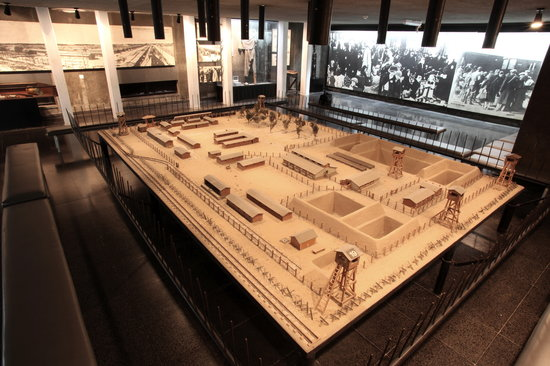 """Ghetto Fighters Museum (Lohamei HaGetaot Museum): The """"Camps"""" exhibition featuring a scale model of Treblinka that was used in the Eichmann Trial"""
