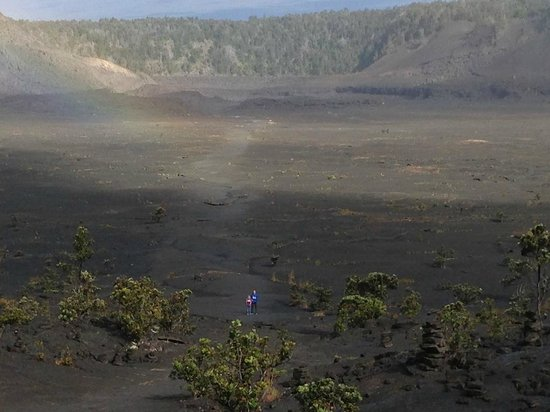 Kilauea Iki Trail: For size perspective, those 2 colorful dots near the bottom are my kids. :)