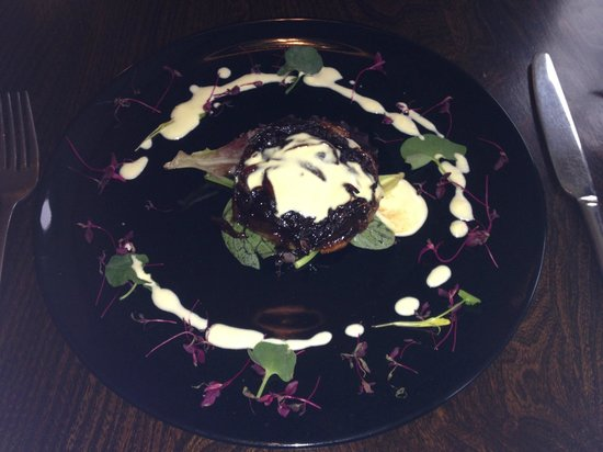 The Wild Garlic at The Talbot: sweet red onion tart with goats cheese sauce