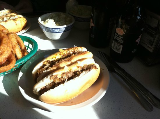 New Way Lunch: Hot Dogs, Onion Rings, Coleslaw and Root Beer