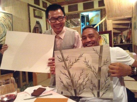 Artist Alley Restaurant: The Artist (Mr Bien) with Thomas.