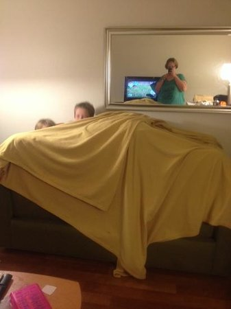 Extended Stay America - Findlay - Tiffin Avenue: making a fort in the living room at the hotel