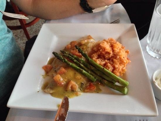 T-Michaels Steak and Lobster: red snapper with a mushroom risotto