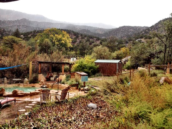 Jemez Hot Springs: Home of The Giggling Springs: A stormy day - perfect for warm mineral waters