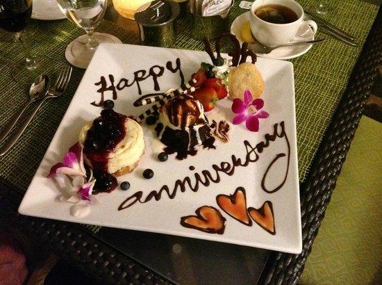 Westin Princeville Ocean Resort Villas: Special 10th Anniversary Dessert creation