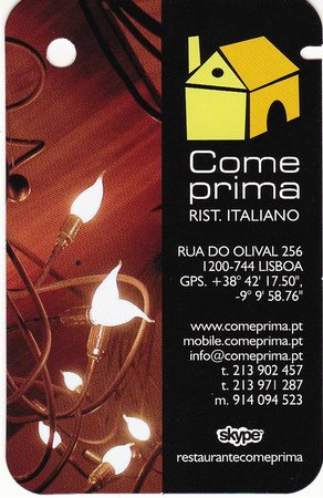 Come Prima Restaurante Italiano Carte De Visite