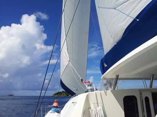 "Singing Dog Sailing: ""Off Cay"" in full sail"