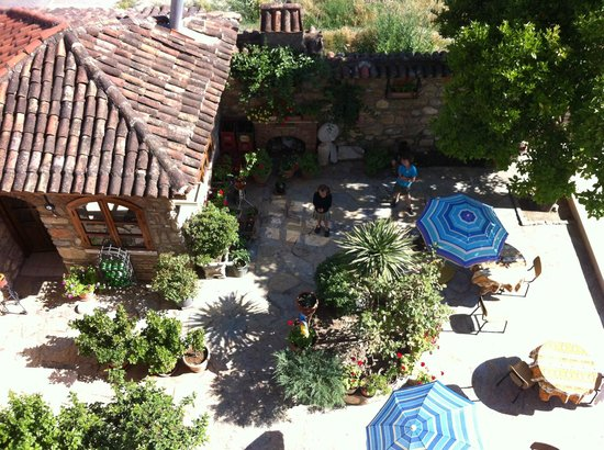 Hotel Nazar - looking from my room down onto the enclosed patio area (pool to the right)