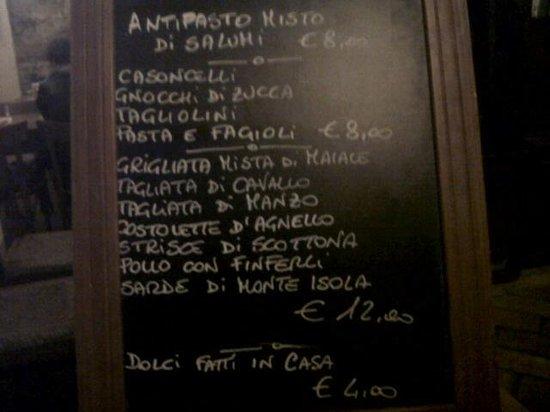 Osteria Ca' de Cindri: menù su lavagnetta
