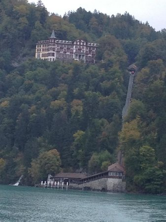 Grandhotel Giessbach: view of our motel from the boat