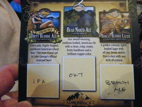 Adirondack Pub & Brewery: These were the six beers in the flight.