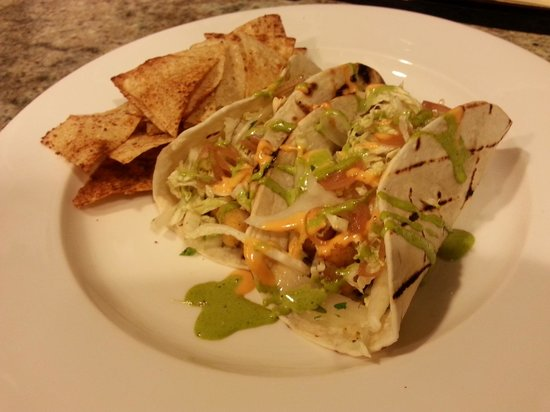 Thirty7north: Fish Tacos with Blackened Cod, Cabbage, Mole Verde, Cilantro Lime Aioli, Red Pepper Aioli