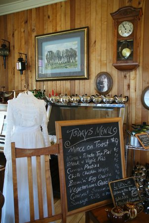 Yesteryears Museum Cafe: old clothing and a menu