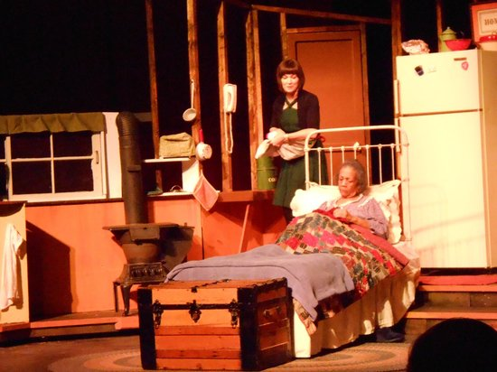 Brown County Playhouse: Glorie carrying apples that Grace picked