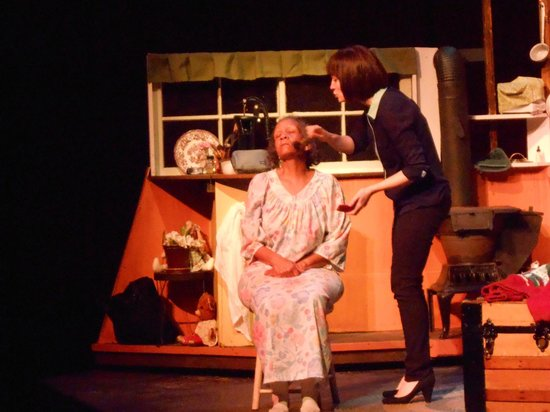 Brown County Playhouse: Glorie putting make-up on Grace