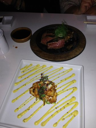 Katsuya - LA Live: Steak was good but pieces were too big.