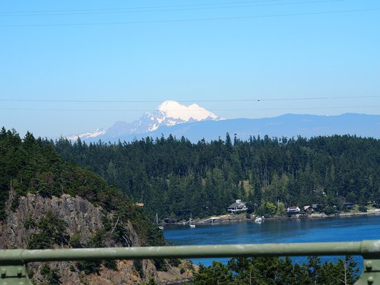 Deception Pass State Park: View of Mt. Baker from the Bridge