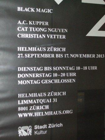 Helmhaus: Current exhibit 'Black Magic'