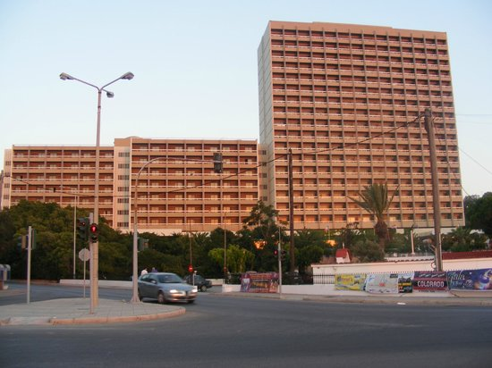 Rodos Palace: a view on the hotel from the main road