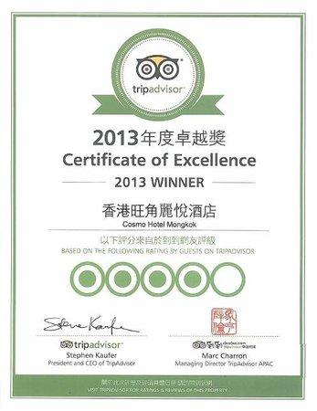Dorsett Mongkok Hong Kong: Certificate of Excellence 2013