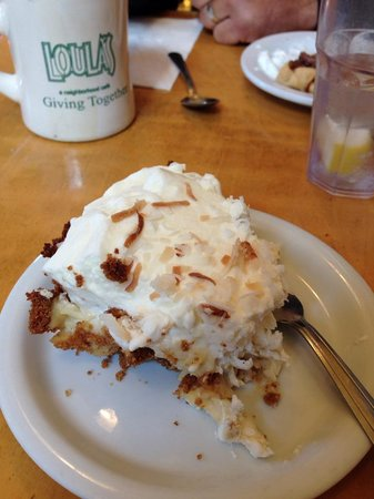 coconut cream pie at Loula's