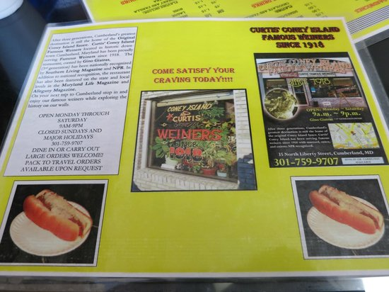 Curtis Famous Weiners : Menu