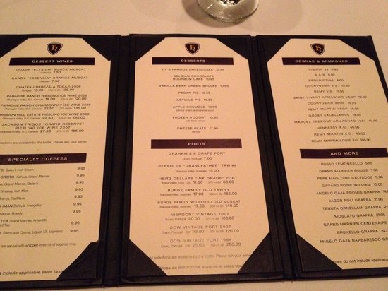 Hy's Steakhouse Whistler: Dessert menu