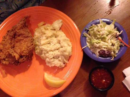 Sweet tea fried chicken with mashed potatoes coleslaw Picture of